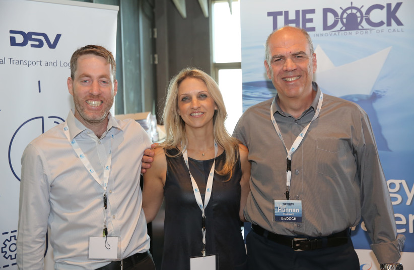 TheDOCK Founder and CEO Hannan Carmeli [R], Head of Community and Marketing Noa Schuman [C], Founder and COO Nir Gartzman [L] (photo credit: THEDOCK)
