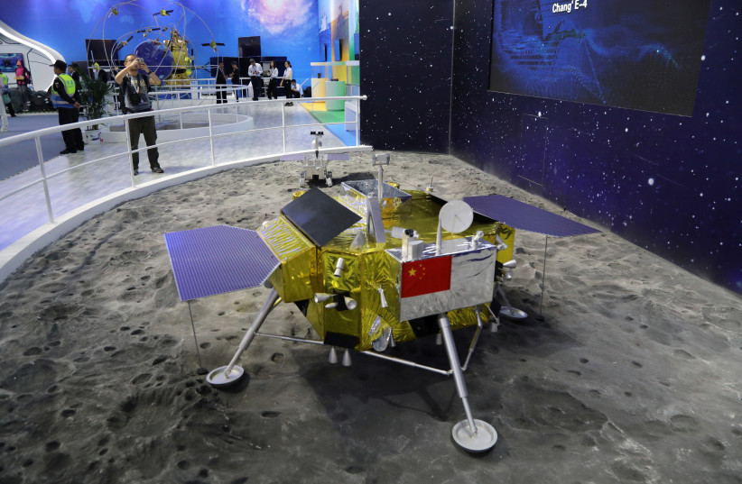 A model of the moon lander for China's Chang'e 4 lunar probe is displayed at the China International Aviation and Aerospace Exhibition, or Zhuhai Airshow, in Zhuhai, Guangdong province, China November 6, 2018. Picture taken November 6, 2018 (photo credit: WANG XU/CHINA SPACE NEWS VIA REUTERS)