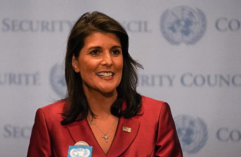 Nikki Haley speaks during a news conference at U.N. headquarters in Manhattan, New York, U.S., September 20, 2018 (photo credit: JEENAH MOON/REUTERS)