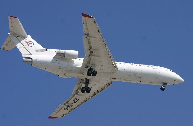 A Fars Air Qeshm Yakovlev Yak-42 landing at Dubai International Airport, United Arab Emirates.  (photo credit: Wikimedia Commons)