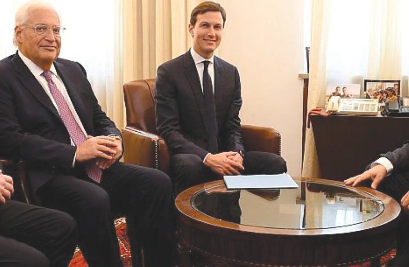 JASON GREENBLATT, David Friedman and Jared Kushner meet Prime Minister Benjamin Netanyahu in Jerusalem last year (photo credit: GPO)