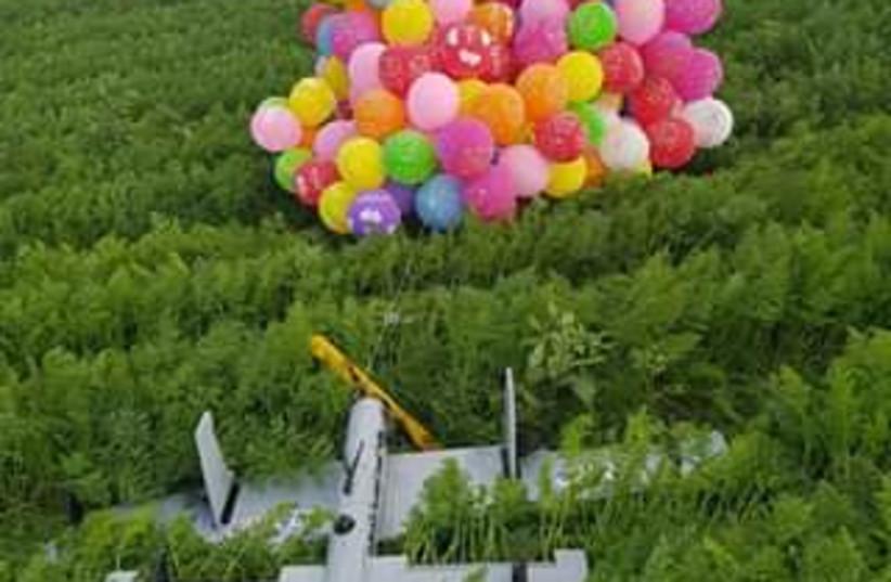 Indenciary balloons discovered on Gaza border, January 6, 2018 (photo credit: BATIA HOLIN)