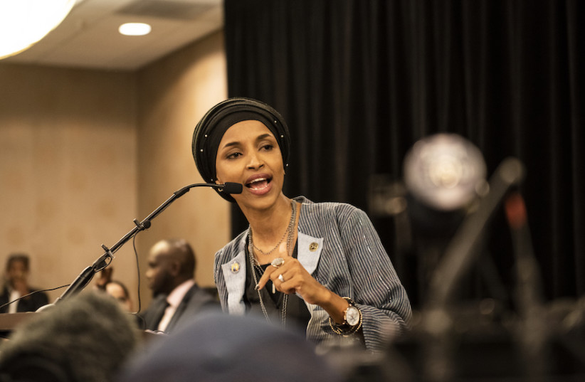 Ilhan Omar speaks at an election night results party in Minneapolis, Nov. 6, 2018.  (photo credit: STEPHEN MATUREN / GETTY IMAGES NORTH AMERICA / AFP)