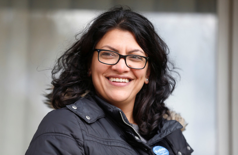 Democratic US congressional candidate Rashida Tlaib before Election Day in Michigan, 2018. (photo credit: REUTERS/REBECCA COOK)
