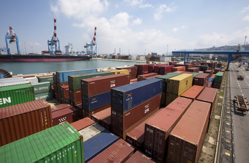 Containers are seen in this general view of the port of the northern city of Haifa April 23, 2013. (photo credit: REUTERS/Ronen Zvulun)