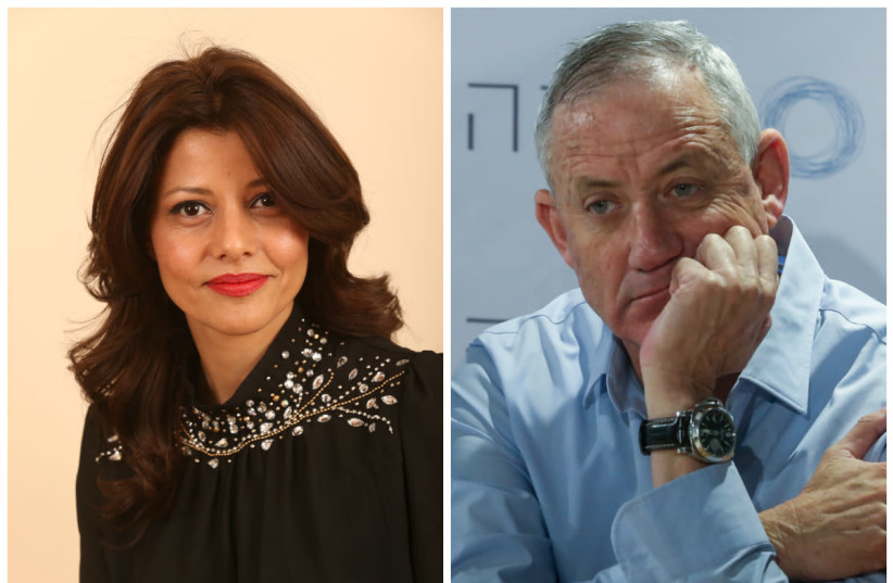 Orly Levy Abecassis (L) and Benny Gantz (R) (photo credit: WIKIMEDIA COMMONS & MARC ISRAEL SELLEM/THE JERUSALEM POST)