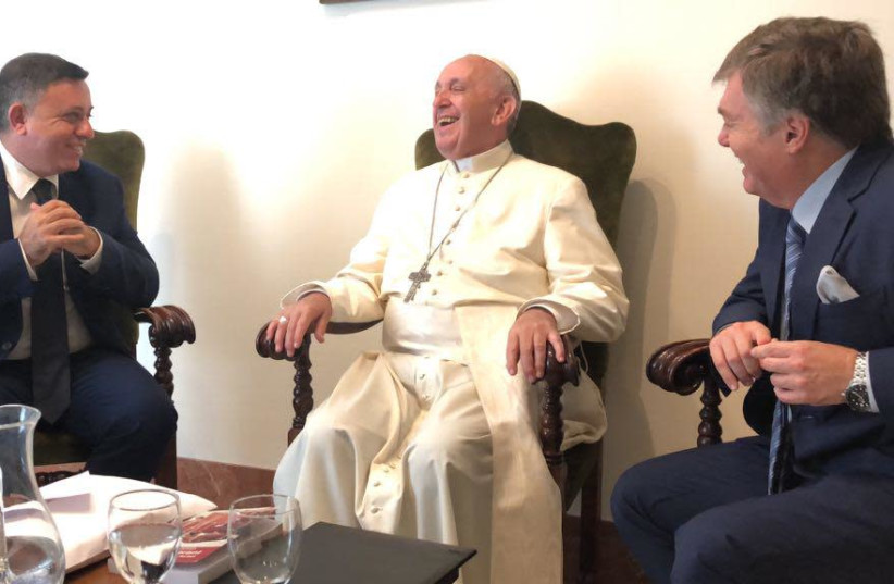 Labor leader Avi Gabbay and Labor Knesset candidate Henrique Cymerman meet with Pope Francis at the Vatican in July (photo credit: YAEL KEHAT)