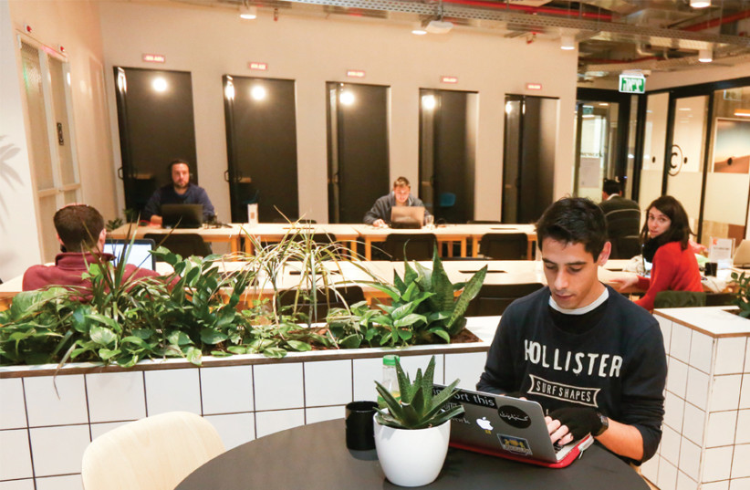 Members work at Hot Desks, shared workspace in the common area on WeWork Jerusalem's second floor. (photo credit: MARC ISRAEL SELLEM)