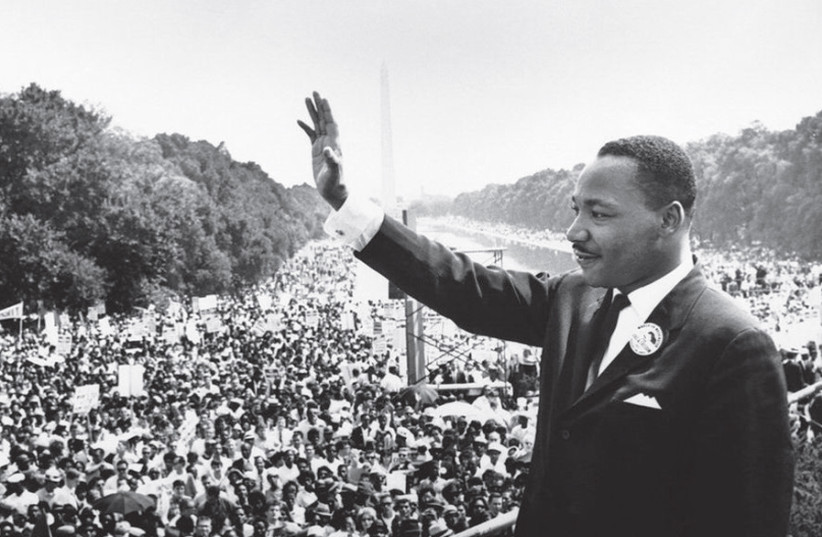 DR. MARTIN Luther King, Jr. addresses the crowd from the steps of the Lincoln Memorial, during the March on Washington on August 28, 1963. (photo credit: Wikimedia Commons)