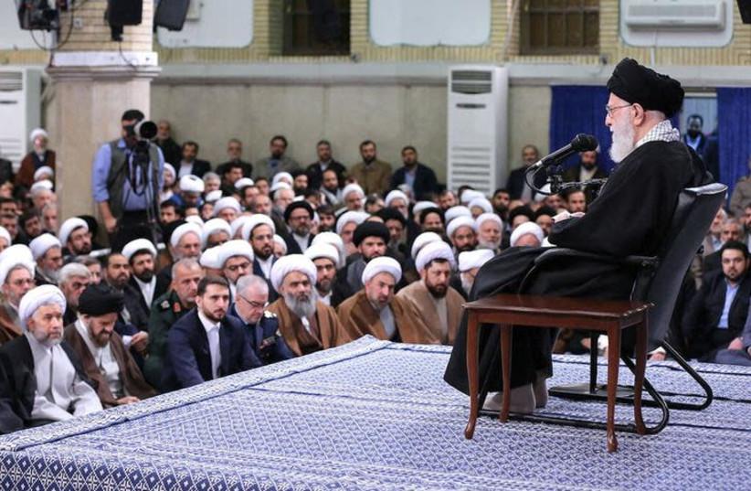Iran's Supreme Leader Ayatollah Ali Khamenei meets with people of Qom, in Teheran, Iran, January 9, 2019. (photo credit: REUTERS)