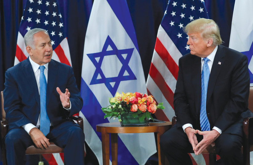 PRIME MINISTER Benjamin Netanyahu speaks during a bilateral meeting with US President Donald Trump on the sidelines of the 73rd session of the United Nations General Assembly in September 2018 (photo credit: REUTERS/CARLOS BARRIA)