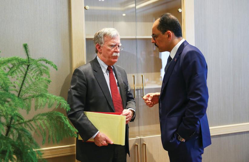US NATIONAL SECURITY Adviser John Bolton and his Turkish counterpart Ibrahim Kalin meet at the Presidential Palace in Ankara, Tuesday (photo credit: REUTERS)