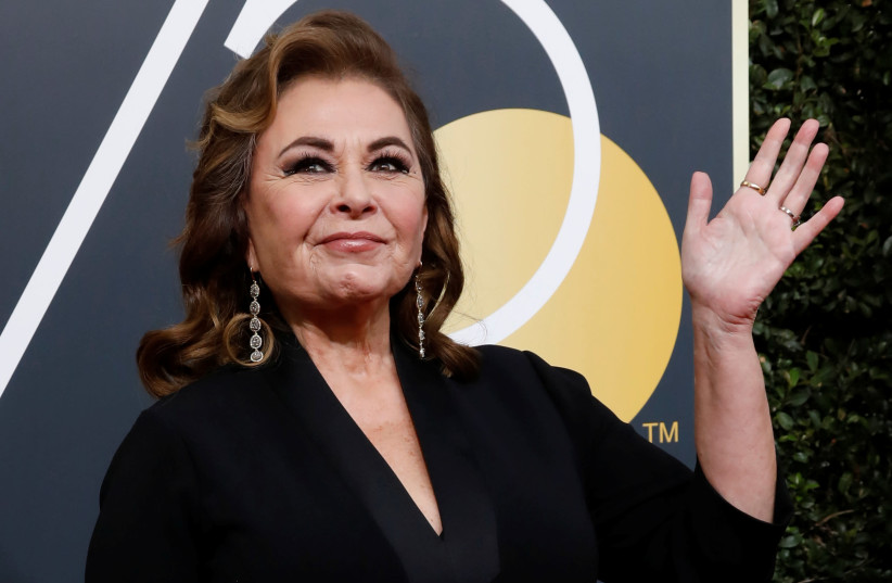 Actress Roseanne Barr waves on her arrival to the 75th Golden Globe Awards in Beverly Hills, California, U.S., January 7, 2018. (photo credit: REUTERS/MARIO ANZUONI)