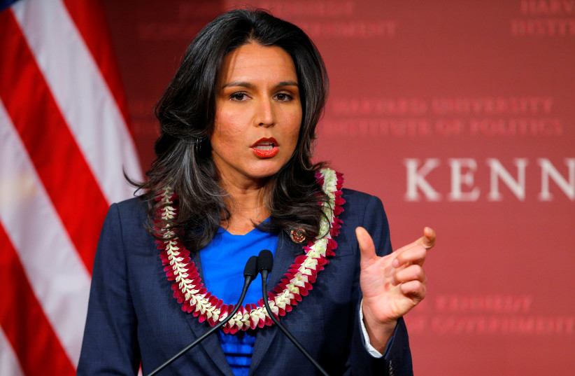U.S. Representative Tulsi Gabbard (D-HI) speaks after being awarded a Frontier Award during a ceremony at the Kennedy School of Government at Harvard University in Cambridge, Massachusetts November 25, 2013 (photo credit: REUTERS/BRIAN SNYDER)