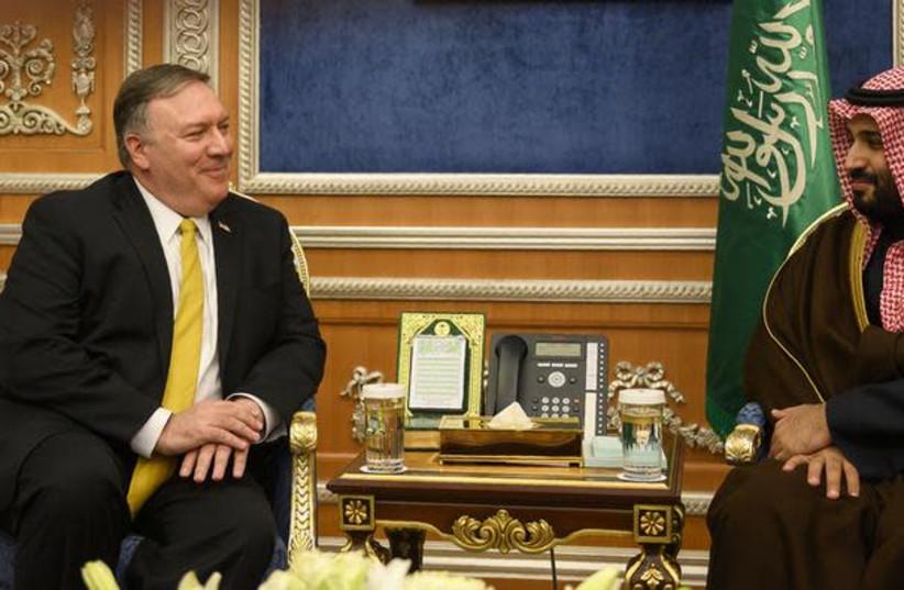 U.S. Secretary of State Mike Pompeo (L) meets with Saudi Crown Prince Mohammed bin Salman in Riyadh, Saudi Arabia January 14, 2019 (photo credit: ANDREW CABALLERO-REYNOLDS / AFP)
