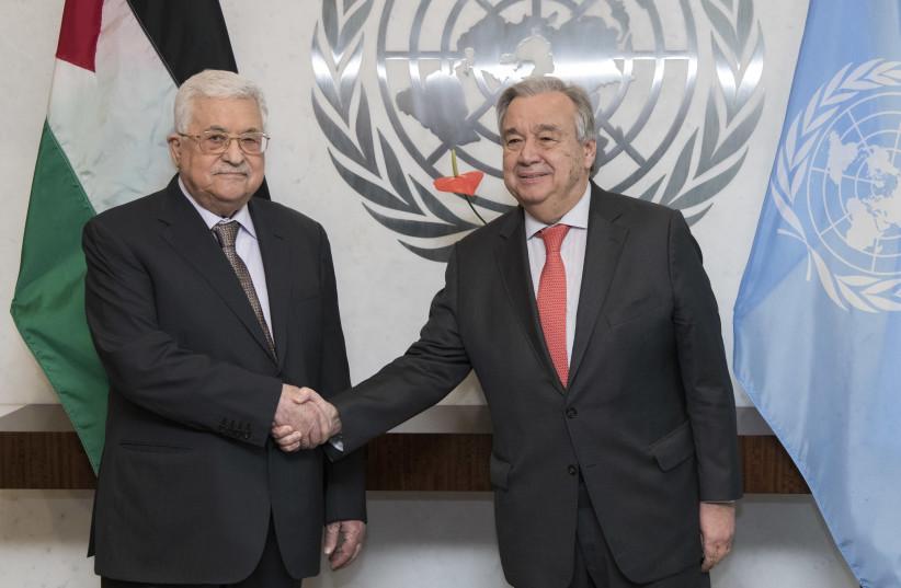 Mahmoud Abbas and UN Secretary General Antonio Guterres (photo credit: Courtesy)