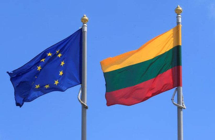 Lithuanian and European Union flags (photo credit: REUTERS/INTS KALNINS)