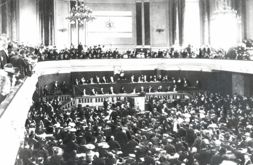 Theodor Herzl addresses the First Zionist Congress in Basel in 1897 (photo credit: JERUSALEM POST ARCHIVE)
