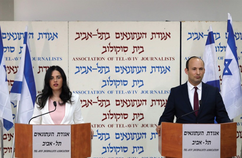 New Right: Naftali Bennett and Justice Minister Ayelet Shaked announce the formation of a new political party in Tel Aviv on December 29 (photo credit: CORINNA KERN/REUTERS)