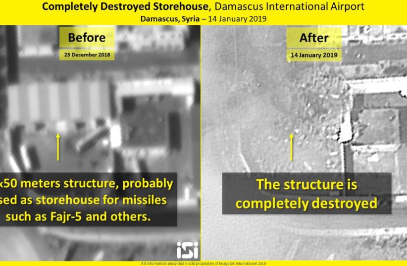 Iranian missile warehouse destroyed, Damascus International Airport (photo credit: IMAGESAT INTERNATIONAL (ISI))