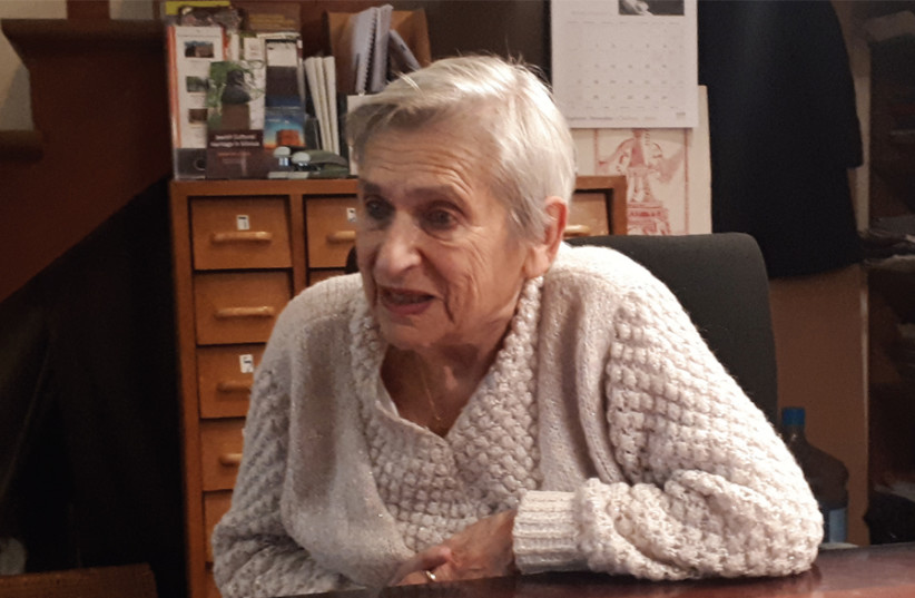 Fania Brancovskaja, Vilna's last Holocaust survivor, in the library of the Yiddish Institute of the University of Vilnius (photo credit: DIANA ZAREMBIENE - LITHUANIAN FOREIGN MINISTRY)