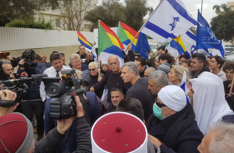 Yesh Atid leader Yair Lapid rallies against the Nation-State Law.  (photo credit: Courtesy)