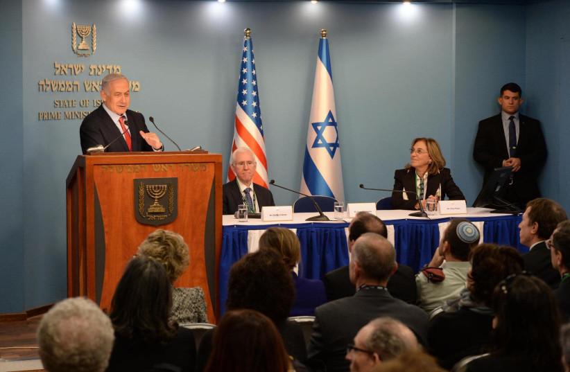 Prime Minister Benjamin Netanyahu meets with AIPAC members in Jerusalem (photo credit: PMO)