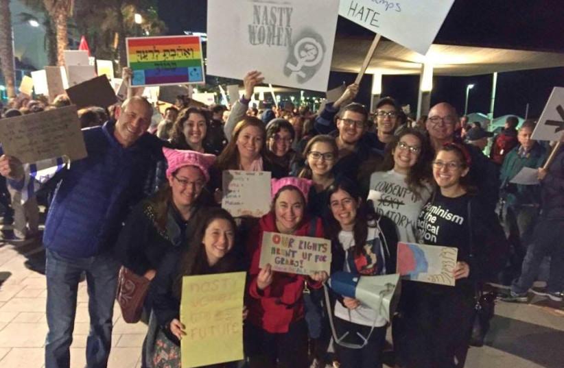 Rachel Druck (first row, first on right) at Women's March Tel Aviv 2017 (photo credit: COURTESY RACHEL DRUCK)