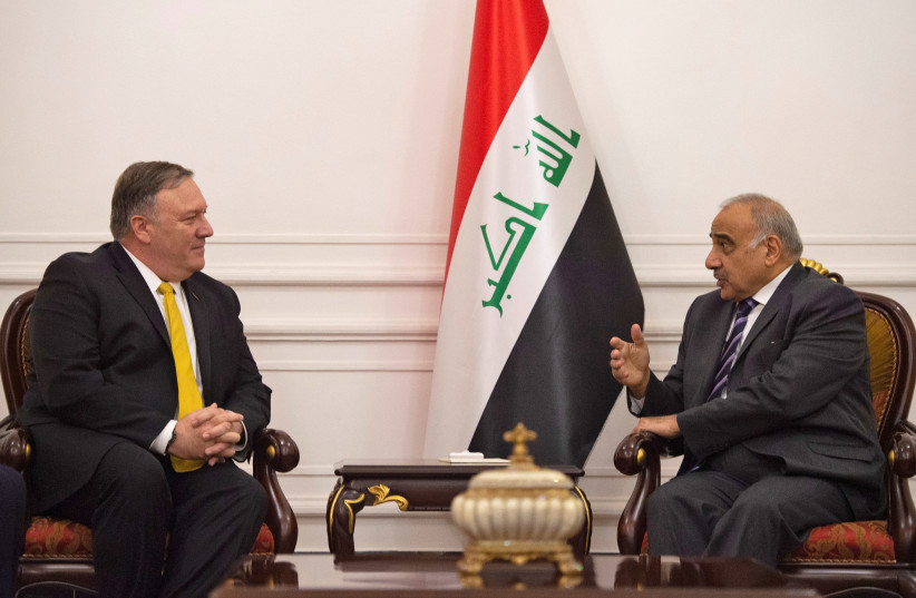 US Secretary of State Mike Pompeo talks with Iraqi Prime Minister Adel Abdul-Mahdi in Baghdad, during a Middle East tour, Iraq, January 9, 2019 (photo credit: ANDREW CABALLERO-REYNOLDS/REUTERS)