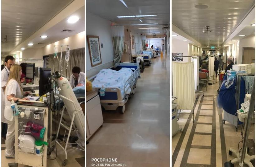 Doctors treat internal medicine ward patients in Israeli hospital corridors (photo credit: Courtesy)