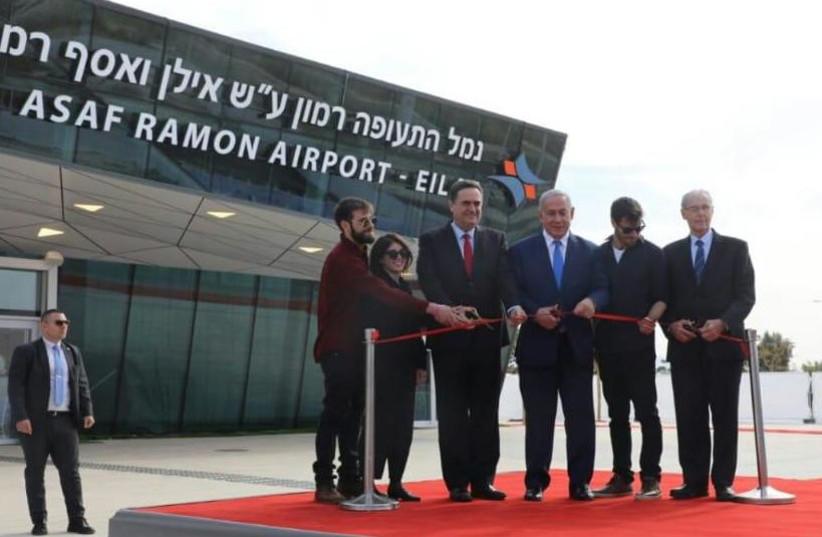 Israeli Prime Minister Benjamin Netanyahu and Transportation Minister Israel Katz attend the inauguration of new international Ramon Airport, January 21st, 2019.  (photo credit: SASSON TIRAM)