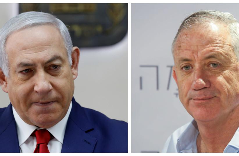 Collage of Prime Minister Benjamin Netanyahu and former IDF Chief of Staff Benny Gantz. (photo credit: GALI TIBBON/POOL VIA REUTERS & MARC ISRAEL SELLEM/THE JERUSALEM POST)
