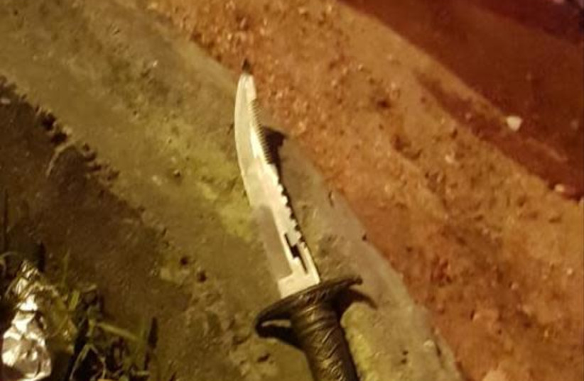 The knife carried by the terrorist at the attempted stabbing attack on Monday (photo credit: IDF SPOKESPERSON'S UNIT)