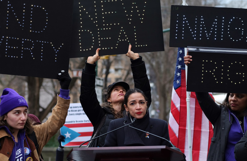 Rep. Alexandria Ocasio-Cortez speaks during a march organized by the Women's March Alliance in the Manhattan borough of New York City, 2019. (photo credit: REUTERS/CAITLIN OCHS)