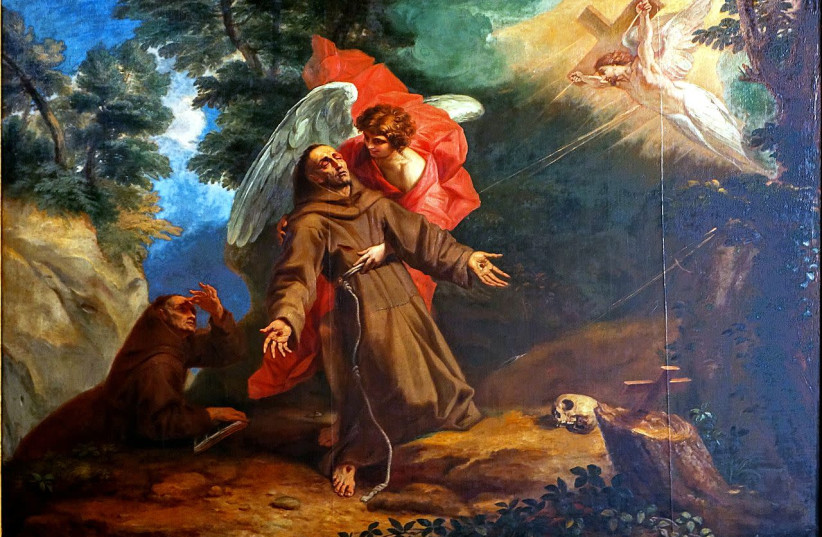 A painting by Arnould de Vuez depicting Francis of Assisi, the painting can be seen in the Hospice Comtesse in Lille. (photo credit: VELVET / WIKIMEDIA COMMONS)