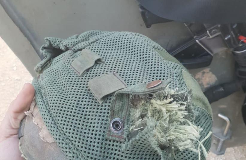 Helmet of IDF soldier hit by terrorist gunfire at Gaza border (photo credit: IDF SPOKESPERSON'S UNIT)