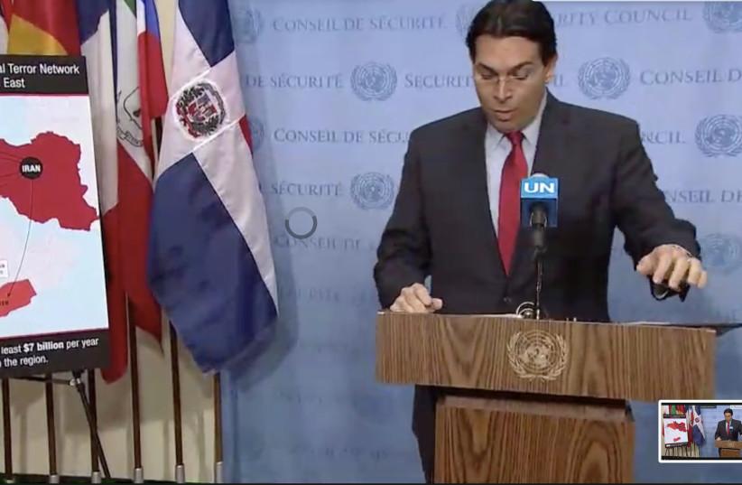 Israel ambassador to the UN Danny Danon speaks at the UNSC (photo credit: screenshot)