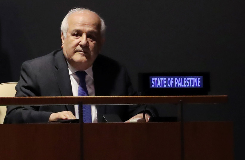 Palestinian Ambassador to the United Nations Riyad Mansour at the United Nations in New York, U.S., October 16, 2018 (photo credit: SHANNON STAPLETON/ REUTERS)