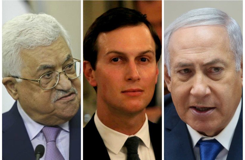 Mahmoud Abbas (L), Jared Kushner (C) and Benjamin Netanyahu (R) (photo credit: REUTERS & MARC ISRAEL SELLEM/THE JERUSALEM POST)
