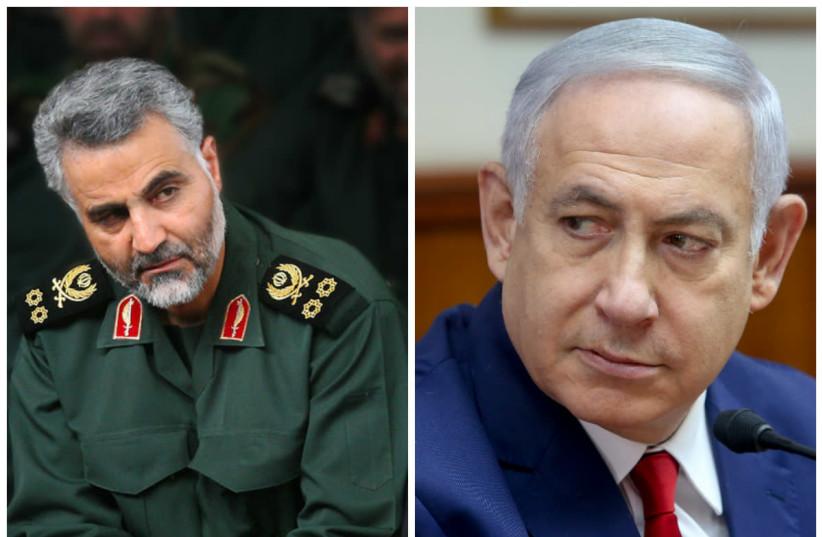 Quassem Soleimani (L) and Benjamin Netanyahu (R) (photo credit: WIKIMEDIA COMMONS & MARC ISRAEL SELLEM/THE JERUSALEM POST)