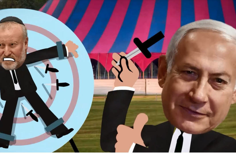 In an election video released by Finance Minister Moshe Kahlon, Netanyahu is depicted as throwing blades at the Attorney General Avichai Mandelblit (photo credit: Courtesy)