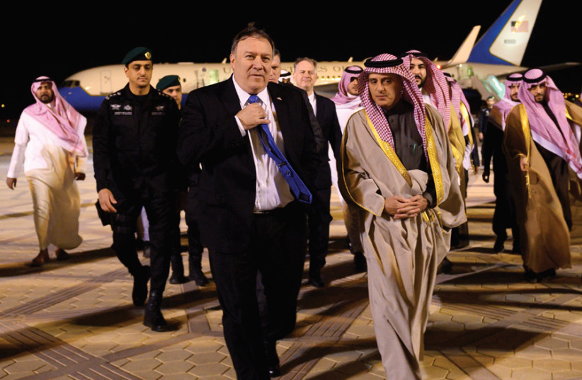 US SECRETARY of State Mike Pompeo is welcomed by Saudi Minister of State for Foreign Affairs Adel al-Jubeir and other dignitaries in Riyadh earlier this month. (photo credit: REUTERS)