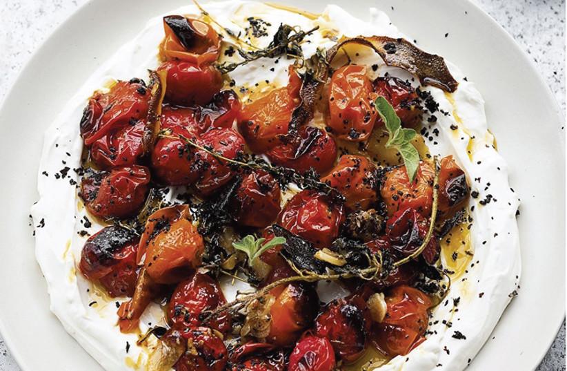 Hot, charred cherry tomatoes with cold yogurt. (photo credit: JONATHAN LOVEKIN)