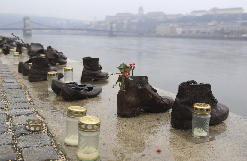 A World War Two memorial of mass killings on the banks of the Danube River is seen in Budapest, February 11, 2014. A main Jewish group in Hungary has recently voted to boycott official Holocaust commemorations this year unless they more clearly show the role of local citizens in the Nazi deportation (photo credit: REUTERS/BERNADETT SZABO)