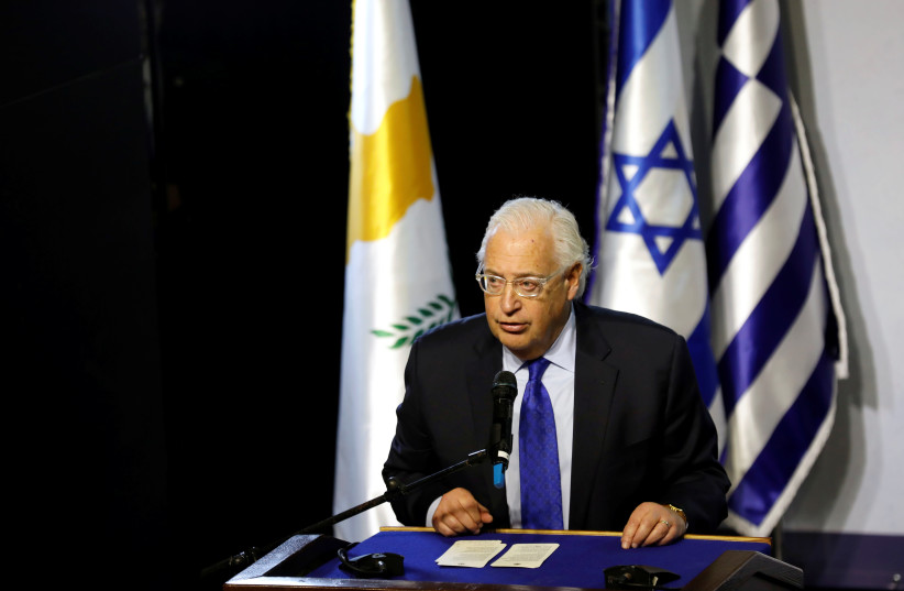 U.S. Ambassador to Israel David Friedman speaks during an event with Israeli Prime Minister Benjamin Netanyahu, Cypriot President Nicos Anastasiades and Greek Prime Minister Alexis Tsipras at Carasso Science Park in Beersheba, Israel December 20, 2018 (photo credit: AMIR COHEN/REUTERS)