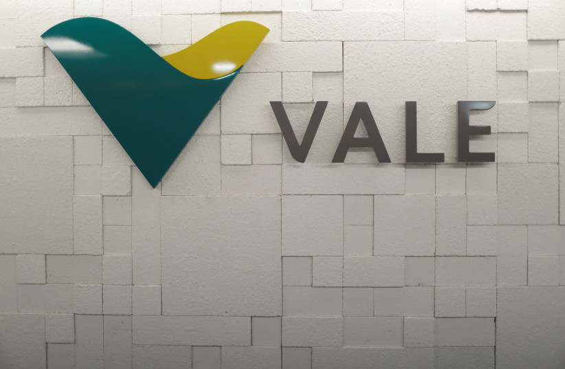 FILE PHOTO: The logo of Vale SA is pictured in Rio de Janeiro, Brazil, August 7, 2017 (photo credit: REUTERS/RICARDO MORAES)