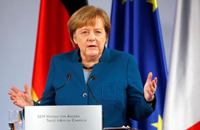 German Chancellor Angela Merkel (photo credit: REUTERS/WOLFGANG RATTAY)
