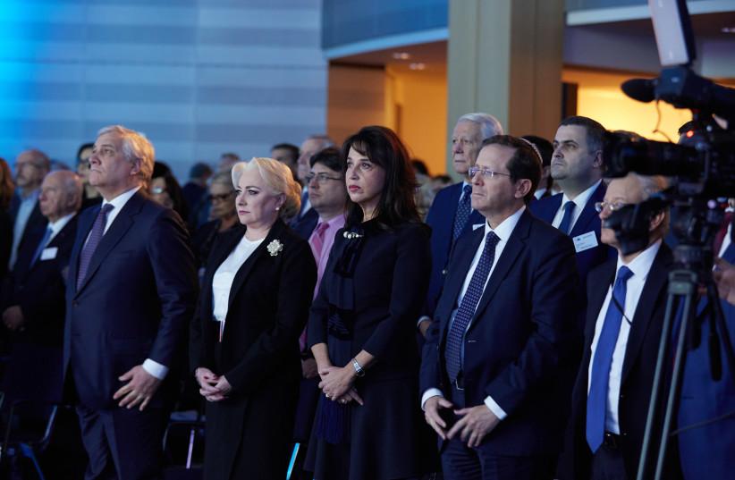 From left: European Parliament President Antonio Tajani, Romanian Prime Minister Viorica Dăncilăl, Raya Kalenova of the European Jewish Congress and Jewish Agency chairman Isaac Herzog (photo credit: SERGEY KAMINSKY)