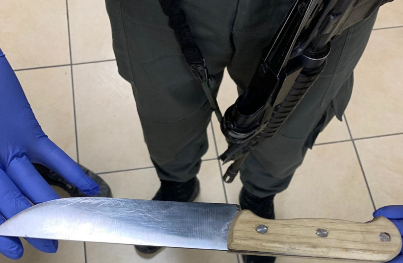 A knife found hidden in the clothes of 17-year-old East Jerusalem resident at Damascus Gate.  (photo credit: ISRAEL POLICE)