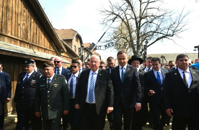 President Reuven Rivlin leads the 2018 March of the Living from Auschwitz to Birkenau (photo credit: YOSSI ZIEGLER)